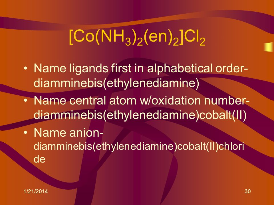 [Co(NH3)2(en)2]Cl2 Name ligands first in alphabetical order-diamminebis(ethylenediamine)